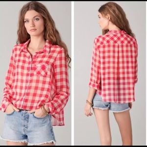 Free People Red Checkered Sheer Button Down -J